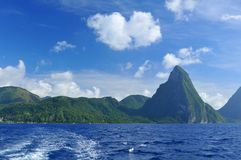 Saint Lucia. View of the Pitons mountains in Saint Lucia Royalty Free Stock Photography