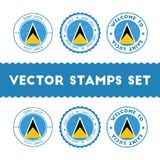 Saint Lucian flag rubber stamps set. Stock Photography