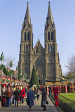 Saint Ludmila Church with christmas markets Royalty Free Stock Photos