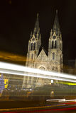Saint Ludmila Church with christmas markets -night Stock Images