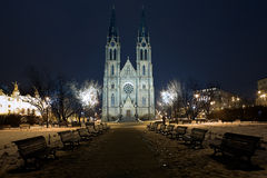 Saint Ludmila Church in Prague at night Stock Images