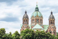 Saint Lukas church munich. Beautiful Saint Lukas church in munich with copy space Stock Photo
