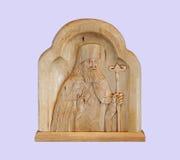 Saint Luke - Bishop doctor on mauve background Royalty Free Stock Image