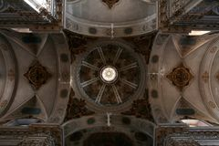 Saint Madeleine church in Seville dome and ceiling details. Decoration details on Dome of the Saint Madeleine church in Seville, in the Spanish city royalty free stock image