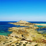 Saint-Malo. Turquoise island of Saint-Malo with pirate' fortress (Normandy Royalty Free Stock Photo
