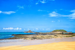 Saint Malo bay, Grand and Petit Be Fort during Low Tide. Brittany, France. Royalty Free Stock Photo
