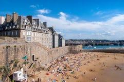 Saint Malo beach. Brittany, France, Europe. Saint Malo beach, during Low Tide. Brittany, France, Europe stock photo