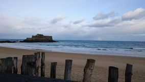 Saint Malo. Beach of Saint Malo. Far Away, National Fort Royalty Free Stock Images