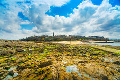 Saint Malo beach rocks. Brittany, France. Royalty Free Stock Image