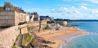 Saint Malo, Brittany, France. Atlantic beach under the walled city of St Malo, Brittany, France royalty free stock photos