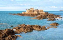 Saint Malo, Brittany, France. Fort on tidal island Petit Be in Saint-Malo, Brittany, France stock photo