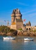 Saint Malo, Brittany, France. Medieval sea castle tower in St Malo, Brittany, France stock image