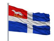 Saint Malo City Flag On Flagpole, França, isolado no fundo branco Ilustração do Vetor