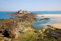 Saint Malo, Fort National and beach Stock Images