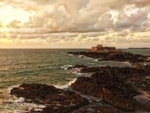 Saint-Malo, Fort national at sunset Stock Photo