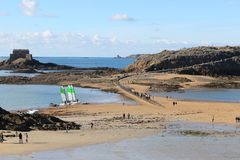 Seacost near the island of Grand-Be at low tide stock photo