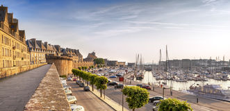 Saint Malo France. Saint Malo, France, at sunrise.  Historic walls and harbor Stock Images