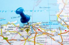 Saint-Malo on map. Saint Malo on map with push pin. Sant-Malo royalty free stock images