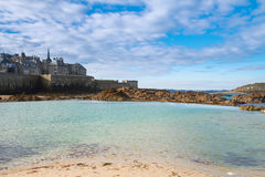 Saint-Malo old city over tidal waters ,  France Royalty Free Stock Image