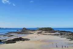 Saint-Malo. Petit Bé fort seen from the Saint-Malo beach Royalty Free Stock Photos