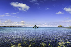 Saint Malo pool view, old diving boards and fort. Brittany, Fran. Ce, Europe Royalty Free Stock Photos