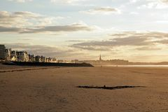 Saint-Malo, sunset on the beach and the walled city (Brittany France) Royalty Free Stock Images