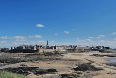 Saint-Malo. View of Saint-Malo from the tidal island Grand Bé during low tide Royalty Free Stock Images