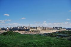Saint-Malo. View of Saint-Malo from the tidal island Grand Bé during low tide Royalty Free Stock Photos