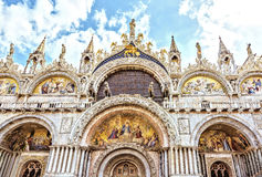 Saint Marc`s Basilica Venice, Italy. Gorgeous western facade of St Mark`s Cathedral symbol of wealth and power Stock Photo