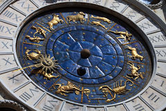 St. Marco astrnomical clocks with zodiac, Venice. Saint Marco clocks on San Marco Square Venice, Italy, Europe royalty free stock photos