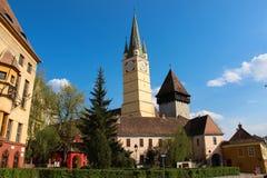 Saint Margaret evangelical Church in Medias. Built centuries ago in gothic style, Saint Margaret evangelical Church in Medias, Sibiu County, romania, represents Stock Photography