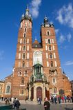 Cracow Krakow, Poland. Saint Maria church at the main square of Cracow Krakow Royalty Free Stock Photo