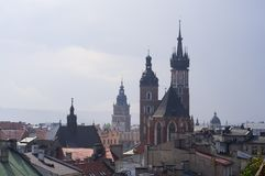 Cracow Krakow, Poland. Saint Maria church at the main square of Cracow Krakow, seen from the roof top Royalty Free Stock Image