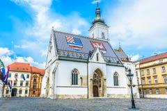 Saint Mark church in Zagreb Croatia. Main square in upper town in historic old city center in Zagreb, Croatia Royalty Free Stock Image
