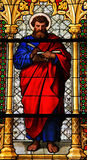 Saint Mark the Evangelist. Church window in the Dom of Cologne, Germany, depicting Saint Mark the Evangelist. The window, made in the Royal Glass Painting Stock Images