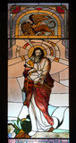 Saint Mark the Evangelist. Stained glass window in Mother Teresa cathedral in Vau i Dejes, Albania Royalty Free Stock Photography