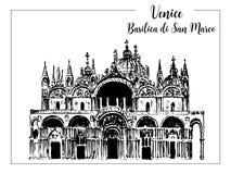 Saint Mark`s Basilic or Basilica di San Marco. vector sketch. Venice Stock Photos