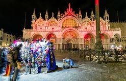 Saint Mark`s Basilica at night in Venice Royalty Free Stock Images
