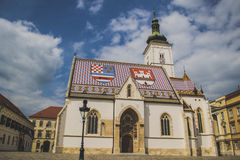 Saint Mark's Church. The colourful Church of St. Mark was built in the 13th century. Is one of the oldest buildings in Zagreb and of its symbols. It is first Stock Images