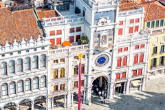 Saint Mark's Clocktower in Venice. Top view on St. Mark's Clocktower on the central square in Venice Royalty Free Stock Photography