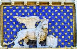 Saint Mark`s Lion Clock Tower Venice Italy Royalty Free Stock Photo