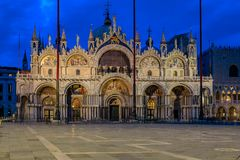 Saint Mark`s square with Saint Mark`s Basilica at sunrise in Ven Stock Image