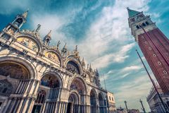 Saint Mark`s Square in Venice, Italy. Saint Mark`s Square with Saint Mark`s Basilica Basilica di San Marco and Campanile in Venice, Italy. This is the main royalty free stock photos