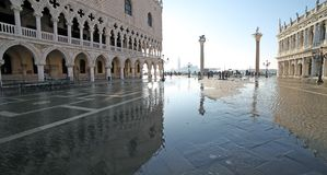 Saint Mark Square and Doge's Palace at high tide Royalty Free Stock Photo