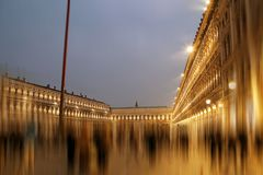 Saint Mark square in Venice at dusk. With motion blur filter applied Royalty Free Stock Photography