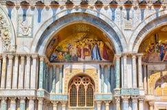 Saint Marks Basilica (Basilica di San Marco), Cathedral. Venice. Western facade at the St Mark's Basilica (Basilica di San Marco), Cathedral, Details. Mosaic Royalty Free Stock Image
