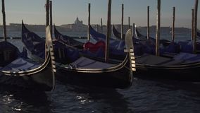 Venice gondolas and boat traffic with the island of Giudeca in the background stock footage