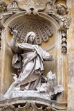 Saint Martha of Bethany. Statue of Saint Martha of Bethany on facade of Santa Maria Maddalena Church in Rome, Italy Royalty Free Stock Images