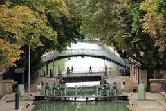 Saint Martin canal in Paris. Romantic canal in the heart of Paris Royalty Free Stock Image