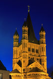 Saint Martin church in Cologne with illumination at night Stock Photos
